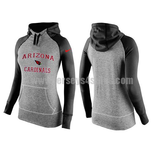 Women's Arizona Cardinals Grey/Black All Time Performance NFL Hoodie