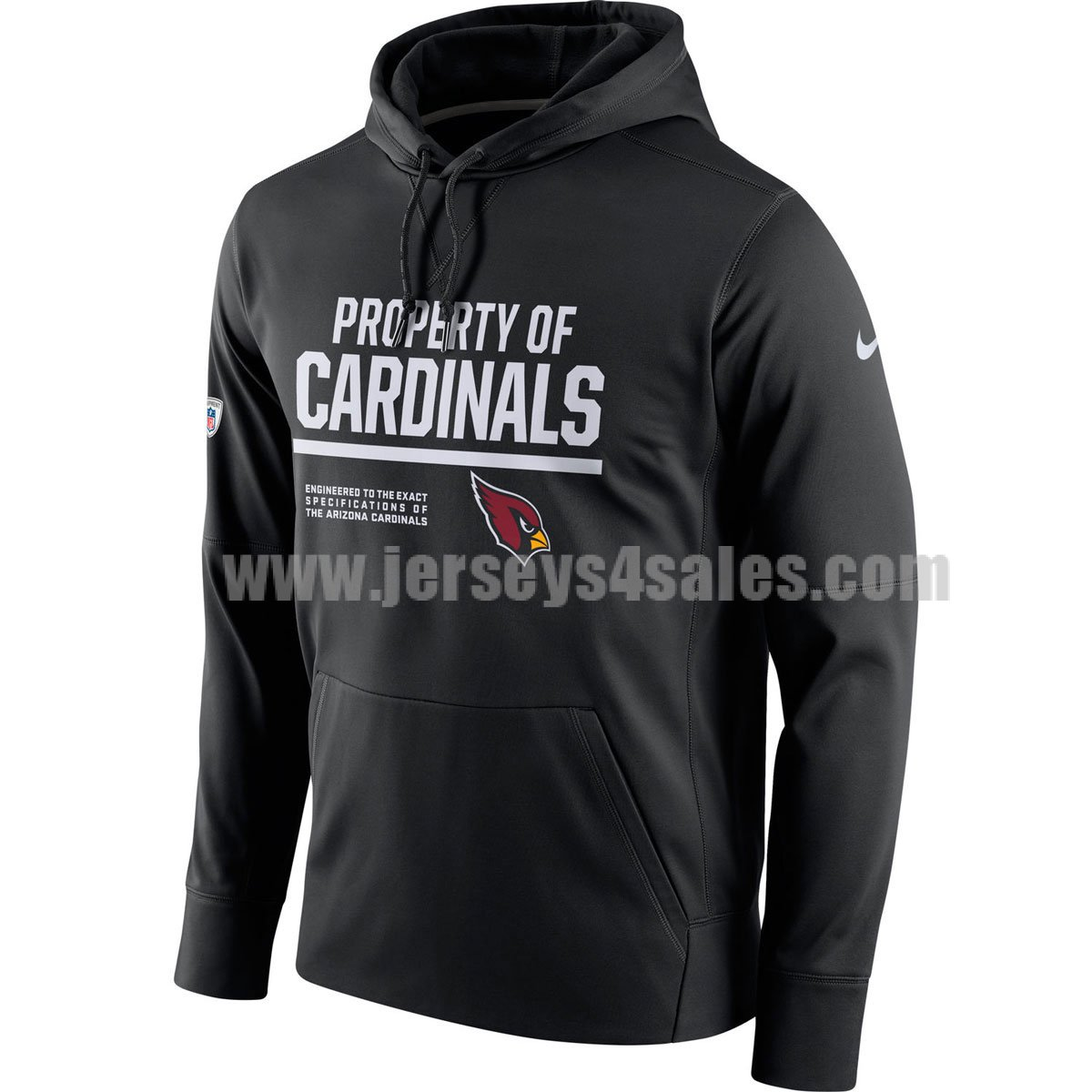 Men's Arizona Cardinals Black Nike Circuit Property Of Performance NFL Pullover Hoodie