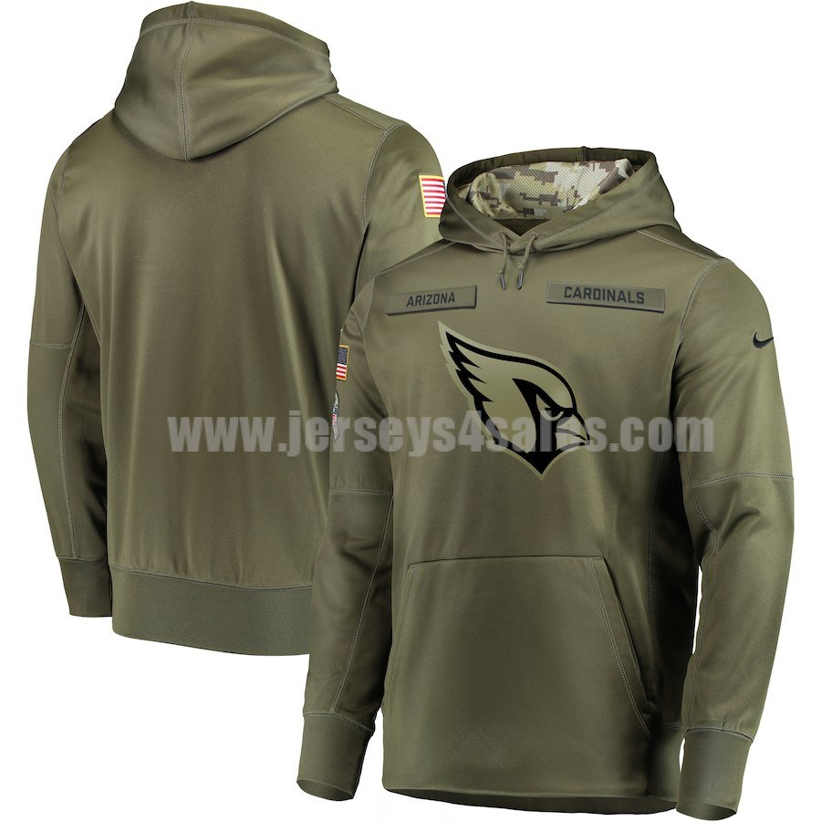 Men's Arizona Cardinals Nike Olive Salute to Service Sideline Therma Performance Pullover Hoodie