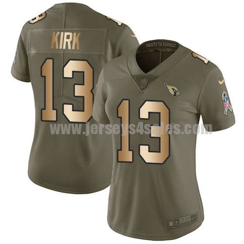 Women's Nike Arizona Cardinals #13 Christian Kirk Olive/Gold Stitched NFL Limited 2017 Salute to Service Jersey