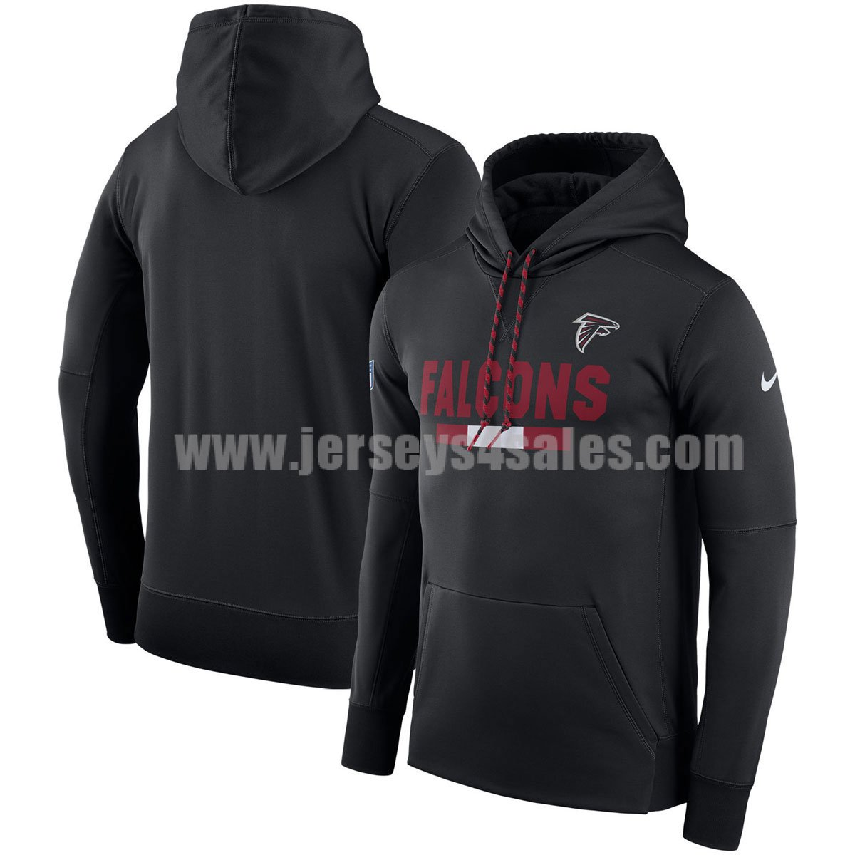 Men's Atlanta Falcons Black Nike Sideline Team Name Performance Pullover NFL Hoodie