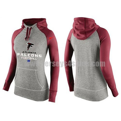 Women's Atlanta Falcons Grey/Red All Time Performance NFL Hoodie