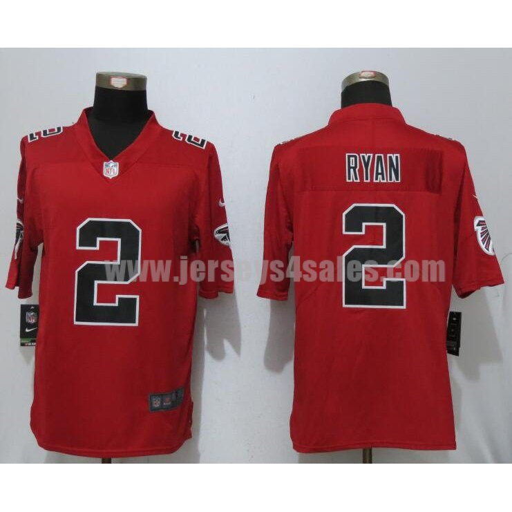 Men's Atlanta Falcons #2 Matt Ryan Red Stitched Nike NFL Color Rush Limited Jersey