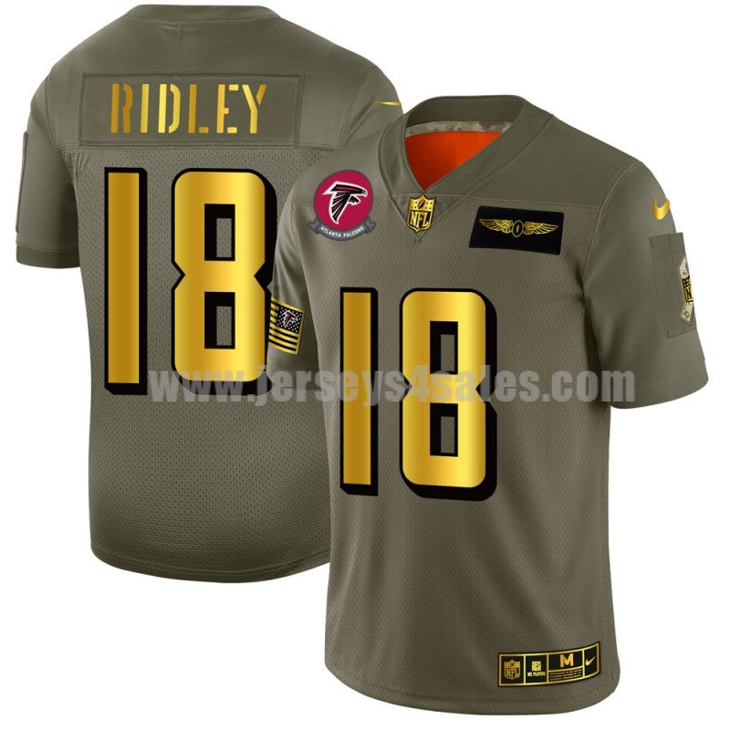 Men's Atlanta Falcons #18 Calvin Ridley Nike Olive/Gold 2019 Salute to Service Limited Jersey