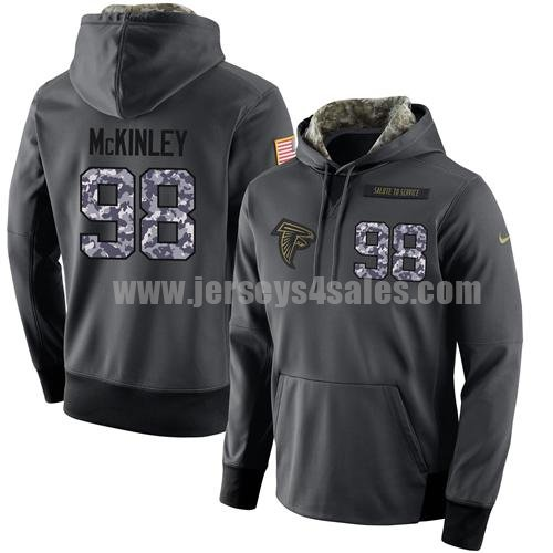 NFL Men's Nike Atlanta Falcons #98 Takkarist McKinley Stitched Black Anthracite Salute to Service Player Performance Hoodie