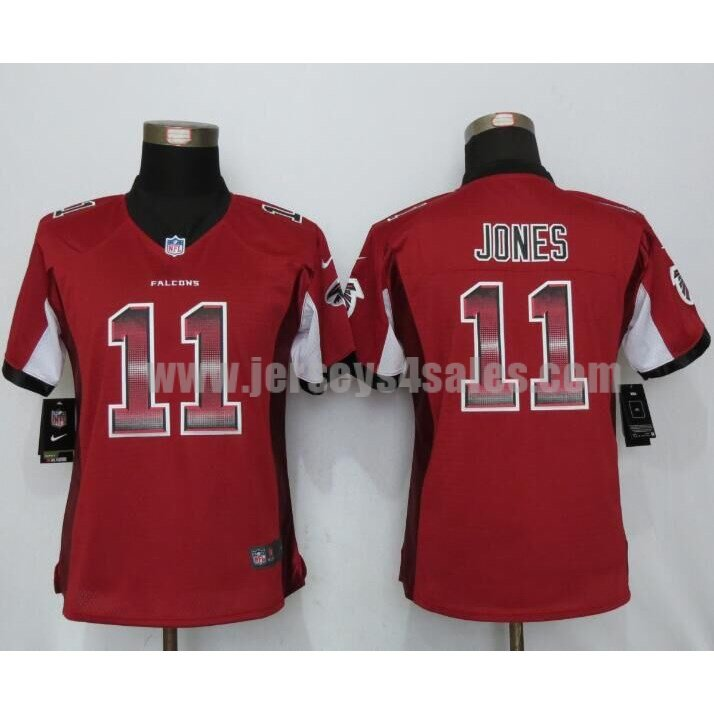 Women's Atlanta Falcons #11 Julio Jones Red Stitched Nike NFL Strobe Limited Jersey