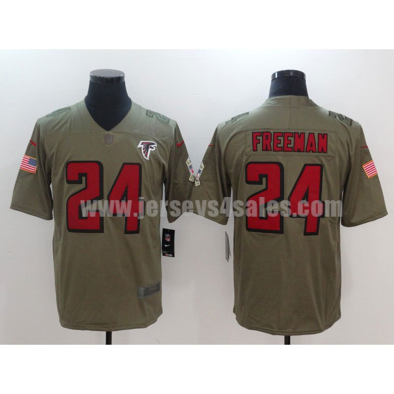 Men's Atlanta Falcons #24 Devonta Freeman Olive Nike NFL 2017 Salute To Service Limited Jersey