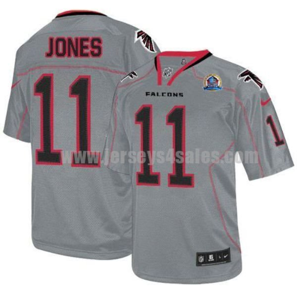 Nike Falcons #11 Julio Jones Lights Out Grey With Hall of Fame 50th Patch Men's Stitched NFL Elite Jersey