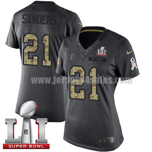 Women's Nike Atlanta Falcons #21 Deion Sanders Black Super Bowl LI 51 Stitched NFL Limited 2016 Salute to Service Jersey