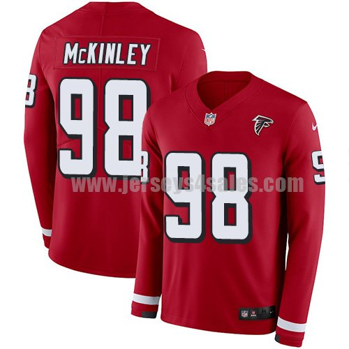 Men's Nike Atlanta Falcons #98 Takkarist McKinley Red Team Color Stitched NFL Limited Therma Long Sleeve Jersey