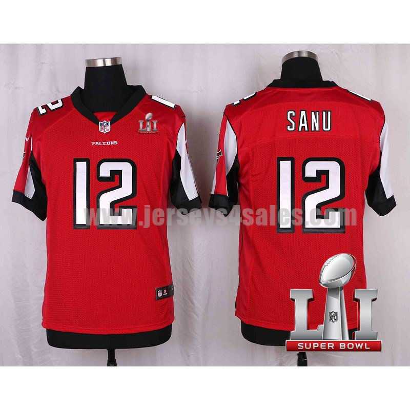 Men's Atlanta Falcons #12 Mohamed Sanu Red Stitched Nike NFL Super Bowl LI Home Elite Jersey