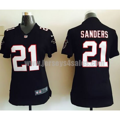 Women's Nike Atlanta Falcons #21 Deion Sanders Black Alternate Stitched NFL Elite Jersey
