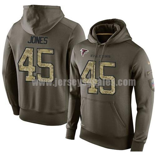 NFL Men's Nike Atlanta Falcons #45 Deion Jones Stitched Green Olive Salute To Service KO Performance Hoodie