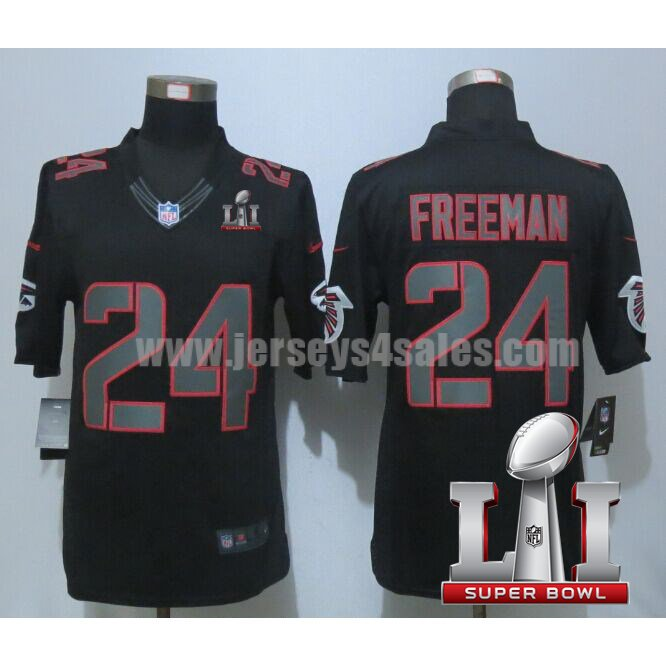 Men's Atlanta Falcons #24 Devonta Freeman Black Stitched Nike NFL Super Bowl LI Impact Limited Jersey
