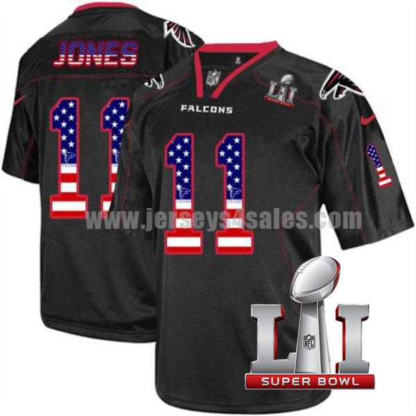 Nike Falcons #11 Julio Jones Black Men's Stitched NFL Super Bowl LI Elite USA Flag Fashion Jersey
