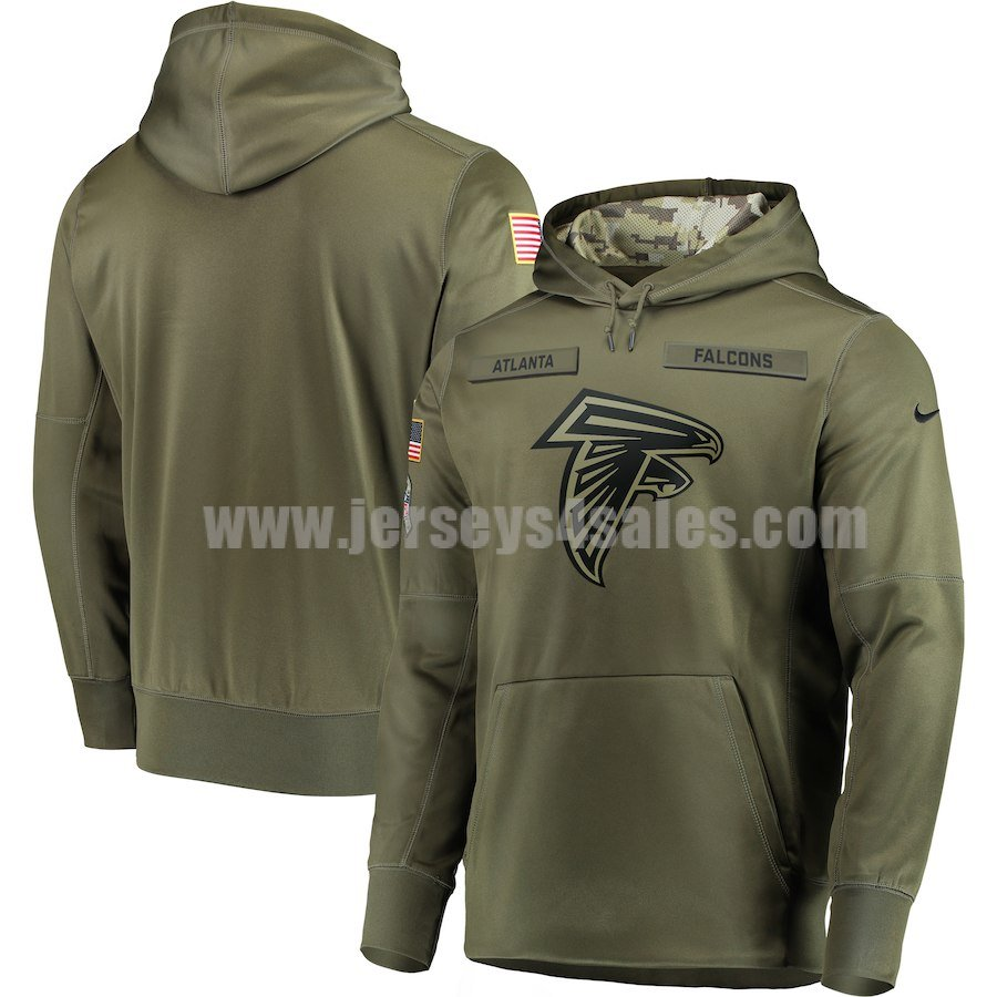 Men's Atlanta Falcons Nike Olive Salute to Service Sideline Therma Performance Pullover Hoodie