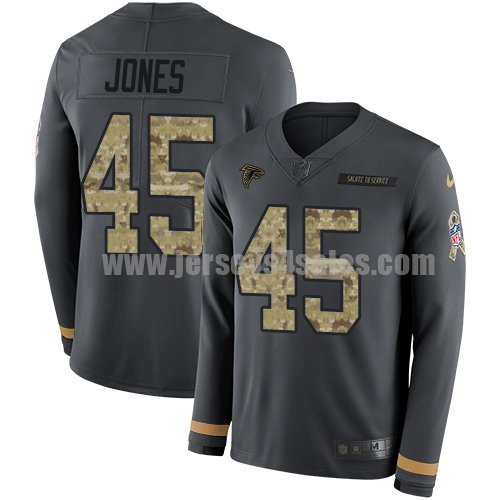 Men's Nike Atlanta Falcons #45 Deion Jones Anthracite Salute to Service Stitched NFL Limited Therma Long Sleeve Jersey