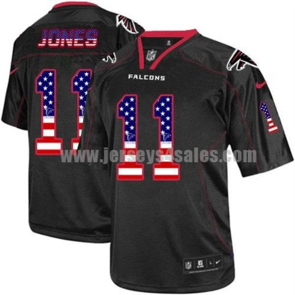 Nike Falcons #11 Julio Jones Black Men's Stitched NFL Elite USA Flag Fashion Jersey