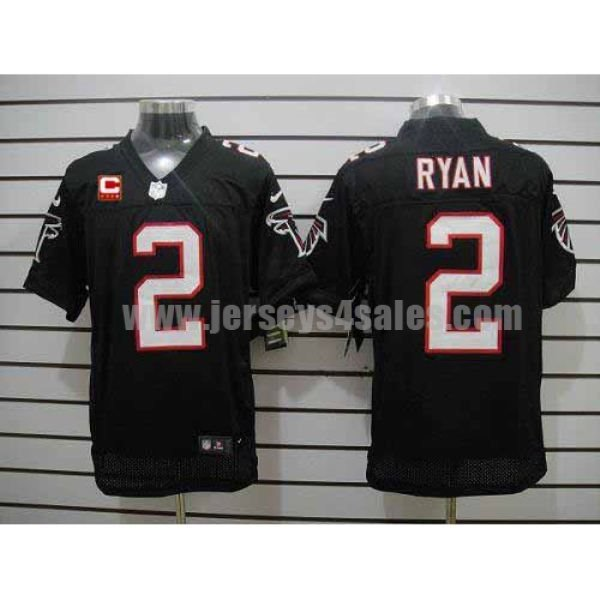 Nike Falcons #2 Matt Ryan Black Alternate With C Patch Men's Stitched NFL Elite Jersey