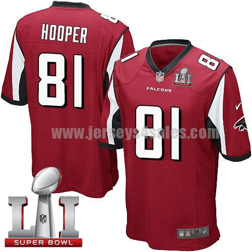 Youth Nike Atlanta Falcons #81 Austin Hooper Red Team Color Super Bowl LI 51 Stitched NFL Elite Jersey