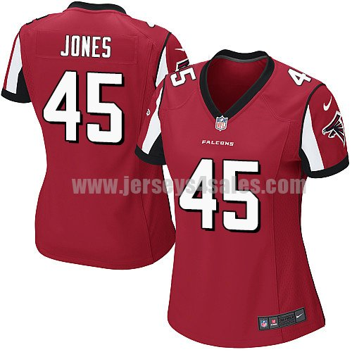Women's Nike Atlanta Falcons #45 Deion Jones Red Team Color Stitched NFL Elite Jersey