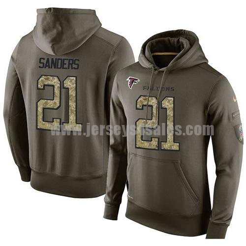 NFL Men's Nike Atlanta Falcons #21 Deion Sanders Stitched Green Olive Salute To Service KO Performance Hoodie