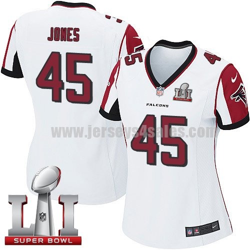 Women's Nike Atlanta Falcons #45 Deion Jones White Super Bowl LI 51 Stitched NFL Elite Jersey