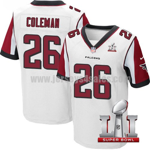 Men's Atlanta Falcons #26 Tevin Coleman Black Stitched Nike NFL Super Bowl LI Road Elite Jersey