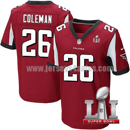 Men's Atlanta Falcons #26 Tevin Coleman Red Stitched Nike NFL Super Bowl LI Home Elite Jersey