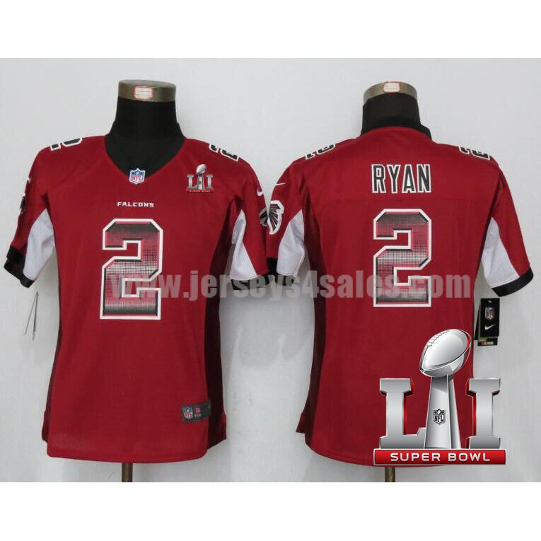 Women's Atlanta Falcons #2 Matt Ryan Red Stitched Nike NFL Super Bowl LI Strobe Limited Jersey