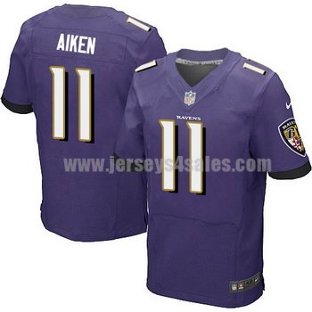 Men's Baltimore Ravens #11 Kamar Aiken Purple Stitched Nike NFL Home Elite Jersey