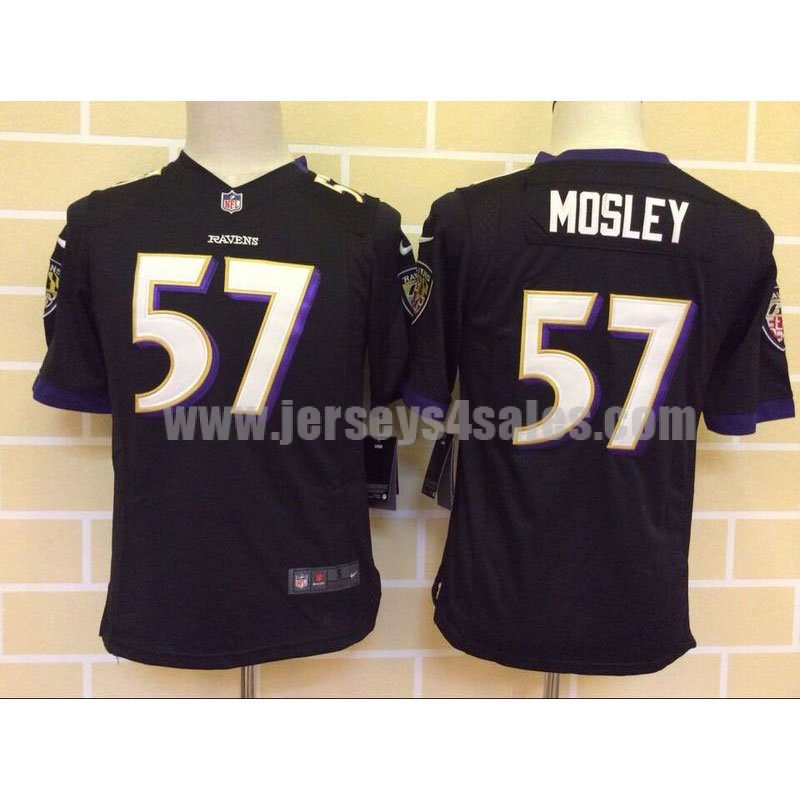 Youth Baltimore Ravens #57 C.J. Mosley Black Stitched Nike NFL Alternate Game Jersey