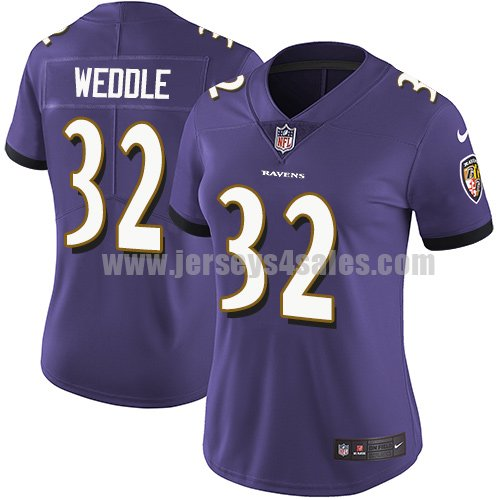 Women's Nike Baltimore Ravens #32 Eric Weddle Purple Team Color Stitched NFL Vapor Untouchable Limited Jersey