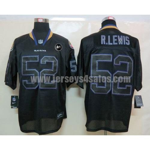 Nike Ravens #52 Ray Lewis Lights Out Black With Art Patch Men's Stitched NFL Elite Jersey