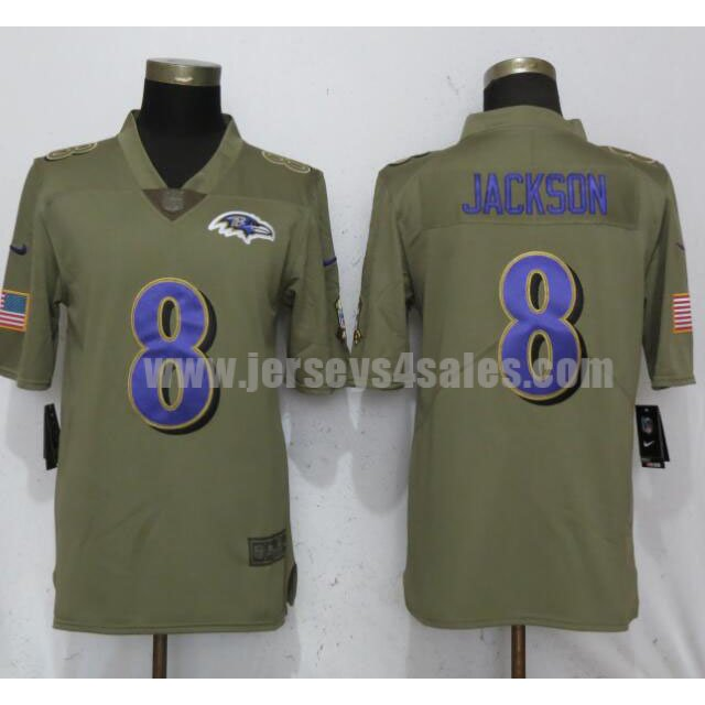 Men's Nike Baltimore Ravens #8 Lamar Jackson Olive Salute To Service Limited Jersey