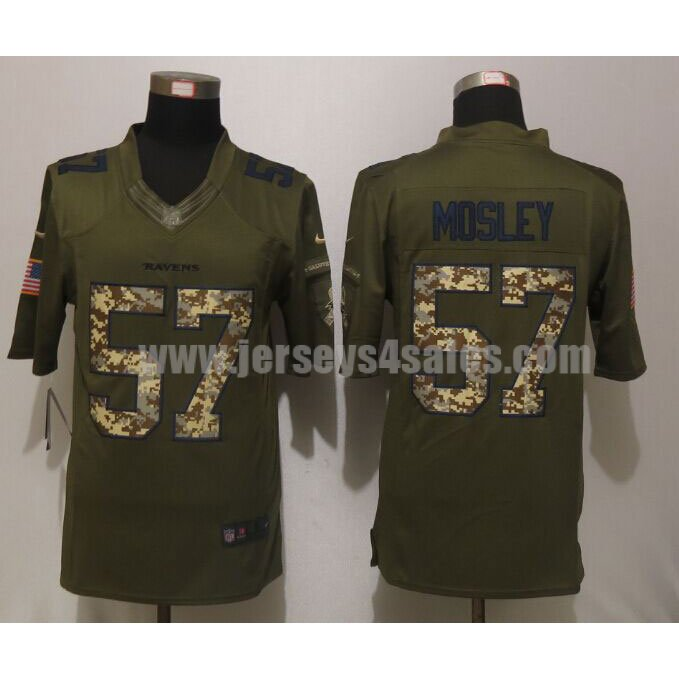 Men's Baltimore Ravens #57 C.J. Mosley Green Stitched Nike NFL Salute To Service Limited Jersey