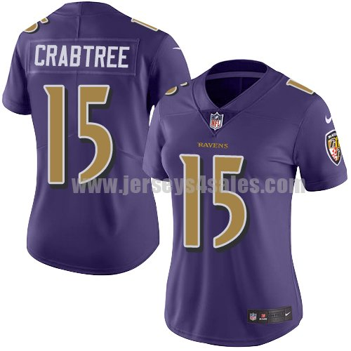 Women's Nike Baltimore Ravens #15 Michael Crabtree Purple Stitched NFL Limited Rush Jersey