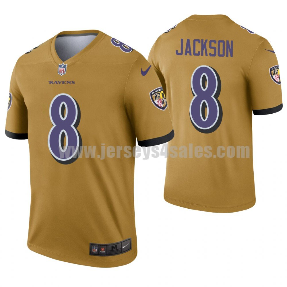 Men's Nike Baltimore Ravens #8 Lamar Jackson Gold Inverted Legend Jersey