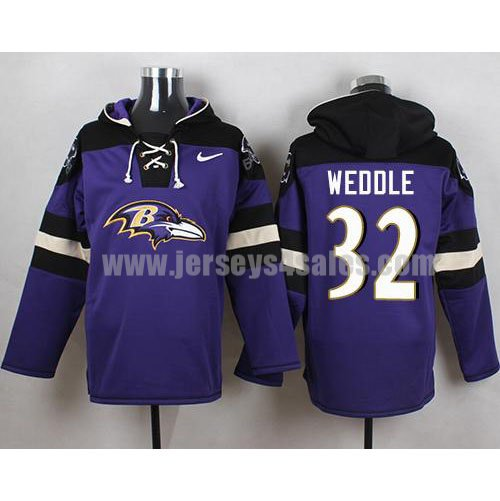 Nike Baltimore Ravens #32 Eric Weddle Purple Player Pullover NFL Hoodie