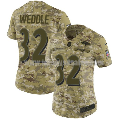 Women's Nike Baltimore Ravens #32 Eric Weddle Camo Stitched NFL Limited 2018 Salute to Service Jersey