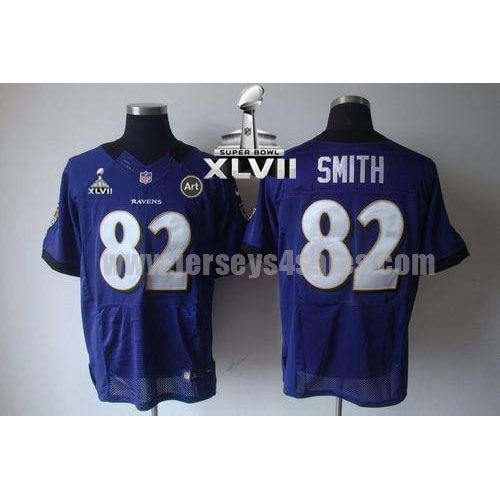Nike Ravens #82 Torrey Smith Purple Team Color Super Bowl XLVII Men's Stitched NFL Elite Jersey