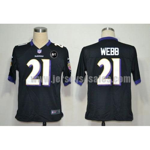Nike Ravens #21 Lardarius Webb Black Alternate With Art Patch Men's Stitched NFL Game Jersey