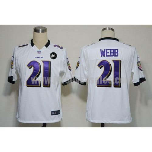 Nike Ravens #21 Lardarius Webb White With Art Patch Men's Stitched NFL Game Jersey