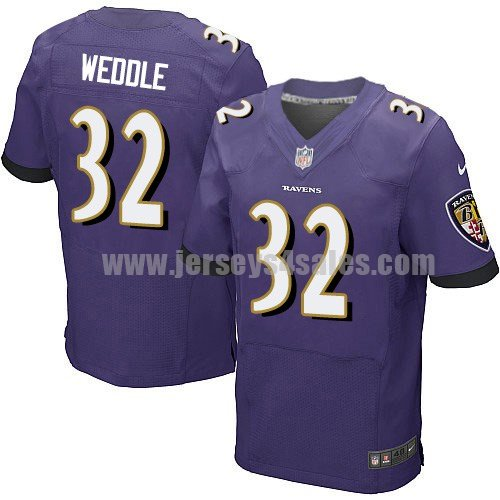 Men's Baltimore Ravens #32 Eric Weddle Purple Stitched Nike NFL Home Elite Jersey