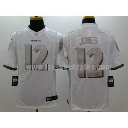 Nike Ravens #12 Jacoby Jones White Men's Stitched NFL Limited Platinum Jersey