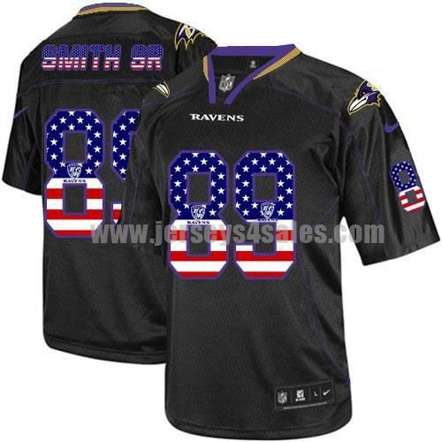 Nike Ravens #89 Steve Smith Sr Black Men's Stitched NFL Elite USA Flag Fashion Jersey
