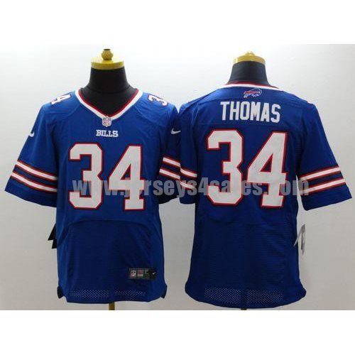 Nike Bills #34 Thurman Thomas Royal Blue Team Color Men's Stitched NFL New Elite Jersey