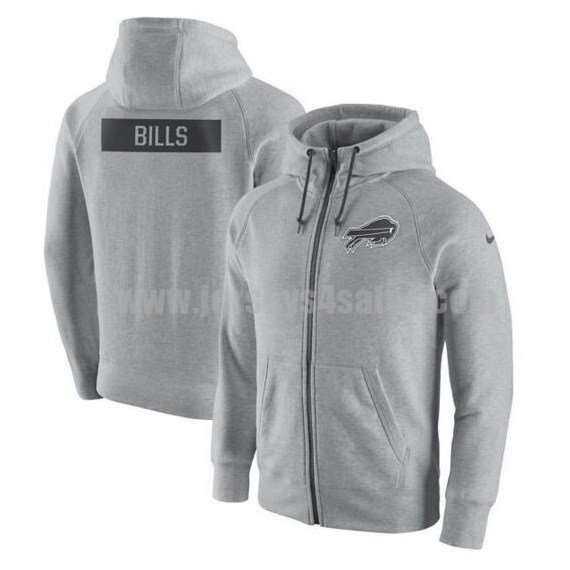 Men's Buffalo Bills Grey Nike Ash Gridiron Gray 2.0 Full-Zip Hoodie