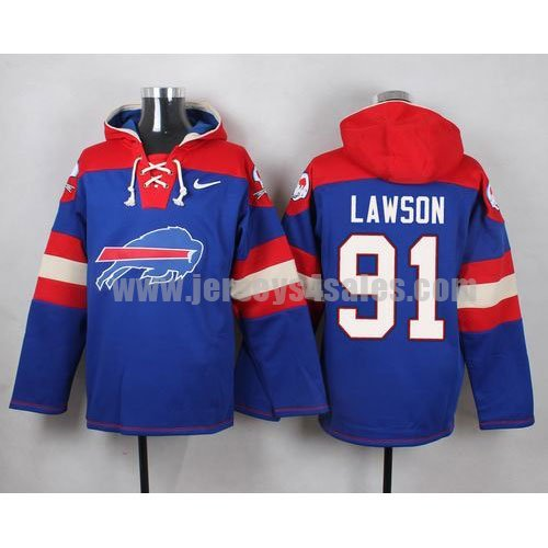 Men's Buffalo Bills #91 Manny Lawson Big Log Print Lace-Up NFL Hoodie - Royal Blue