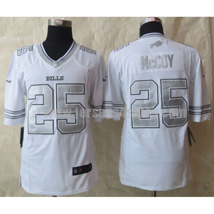 Men's Buffalo Bills #25 LeSean McCoy White Platinum Stitched Nike NFL Limited Jersey